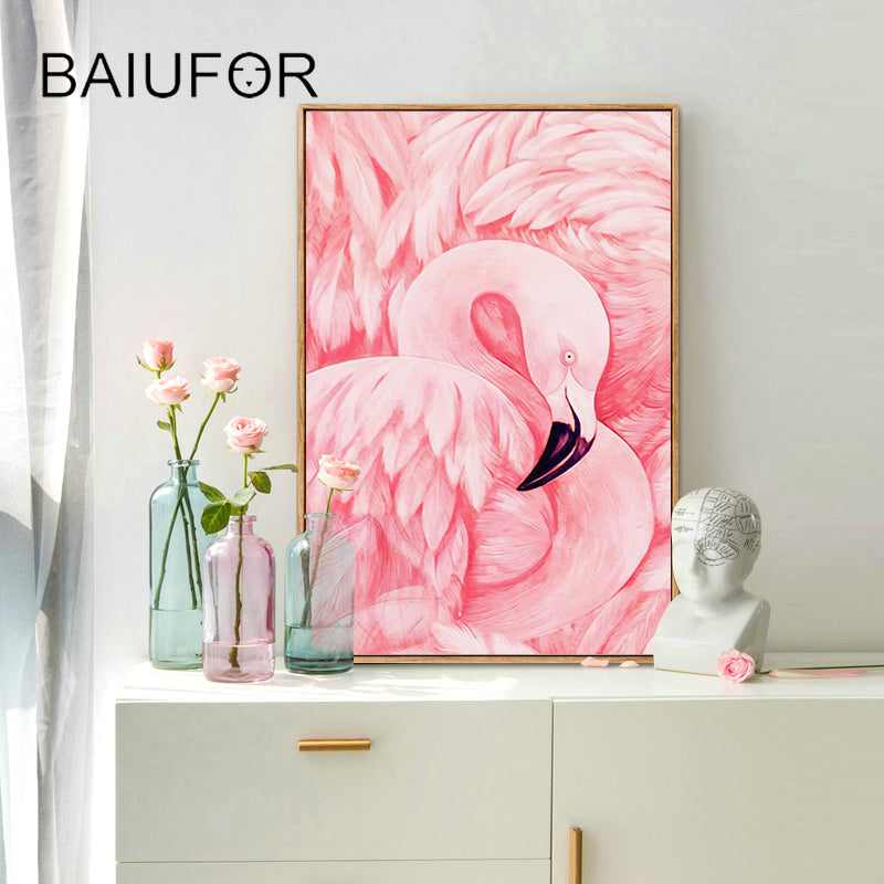 DIY Diamond Painting Soft Pink Flamingo Feathers - craft kit