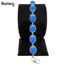 Anstory Long Women's Antique Silver Plated Oval Link Opal Bracelet in 4 Color Options