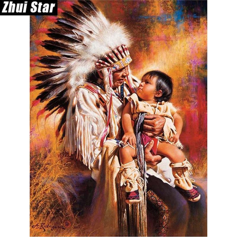 5D DIY Diamond Painting Native American Man and Baby - craft kit