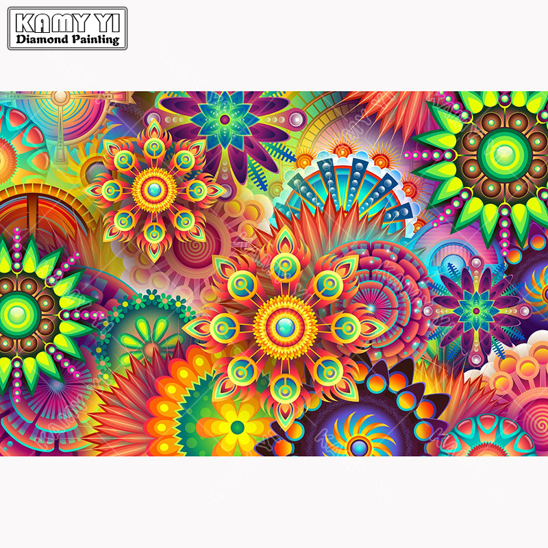 5D DIY Diamond Painting Bright Geometric Flower Bursts - craft kit