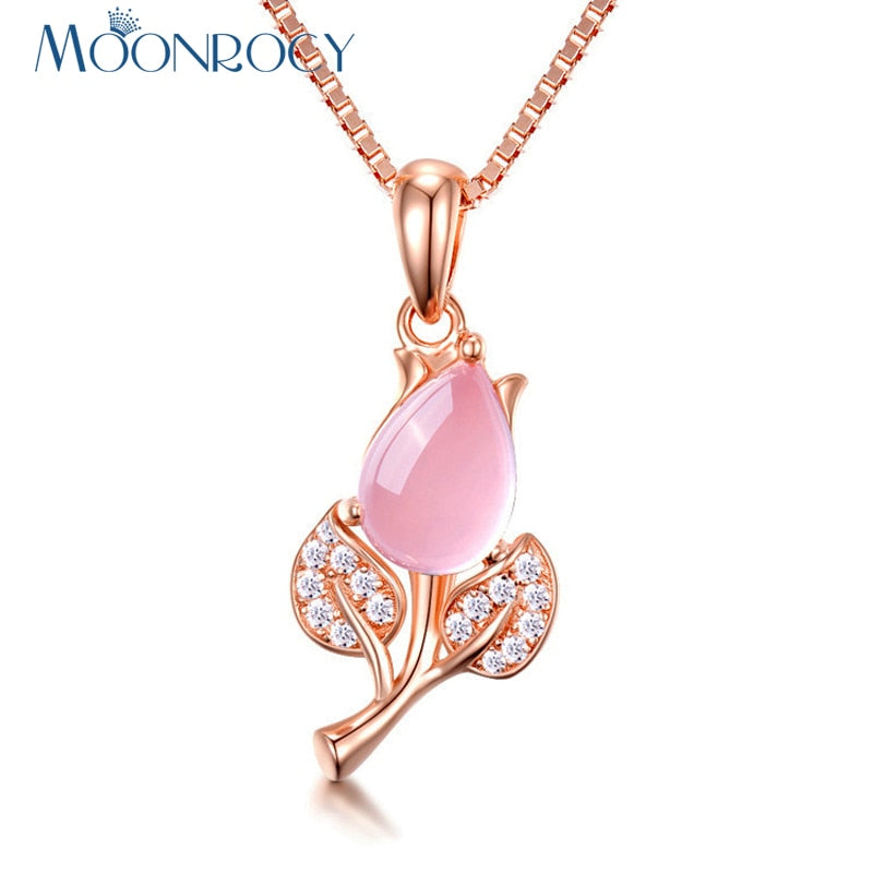 MOONROCY Rose Gold Color Pink Opal Flower Pendant Necklace