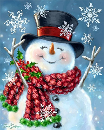 DIY Diamond Painting Rejoicing Snowman - craft kit