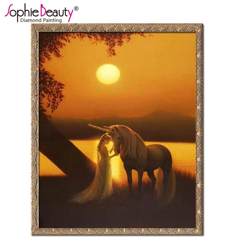 5D DIY Diamond Painting Unicorn and Maiden on Topaz Sky - craft kit