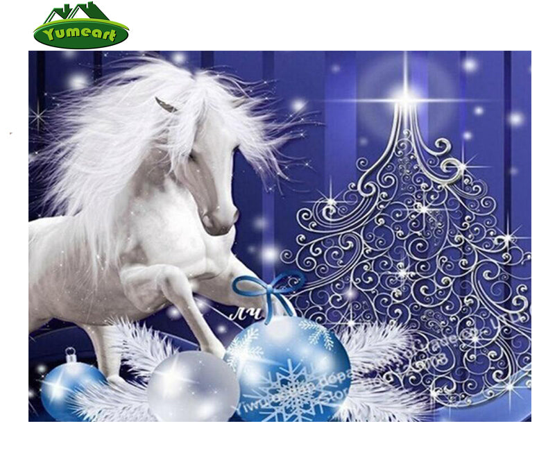 5D Diamond Painting White Horse Blue and Silver Filigree Christmas Tree - craft kit