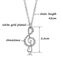 SINLEERY Women's White Gold Plated Rhinestone Musical Note Pendant Necklace