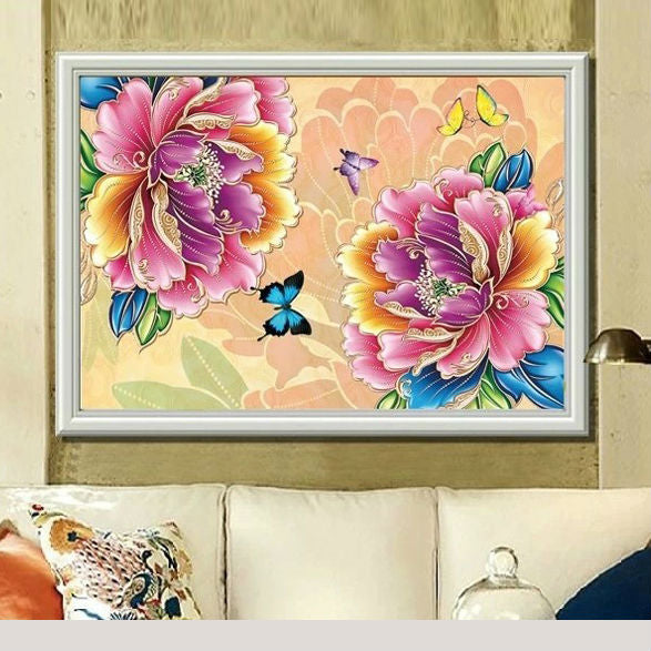 5D DIY Diamond Painting Two Multi Color Peony Blooms Partial - craft kit