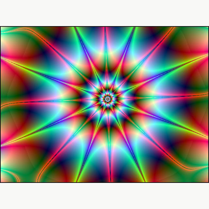 5D DiY Diamond Painting Neon Lime Pink Starburst Mandala - craft kit