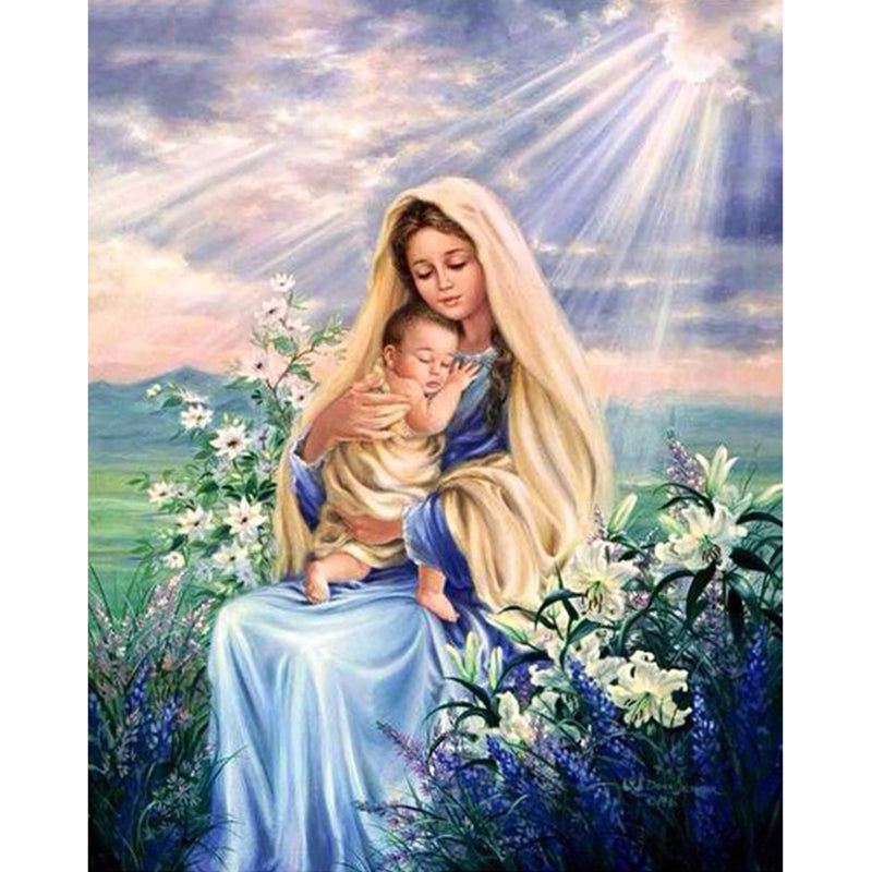 5D DIY Diamond Painting Mary and Baby Jesus with White Lilies - craft kit