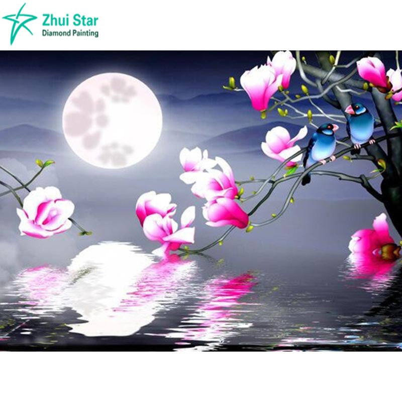 5D DIY Diamond Painting Cherry Blossom Moonlight - craft kit