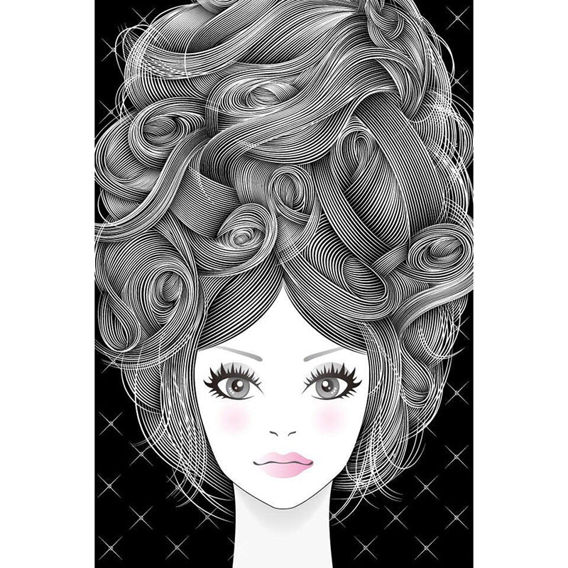 5D DIY Diamond Painting Grayscale Beehive Hair and Face - craft kit