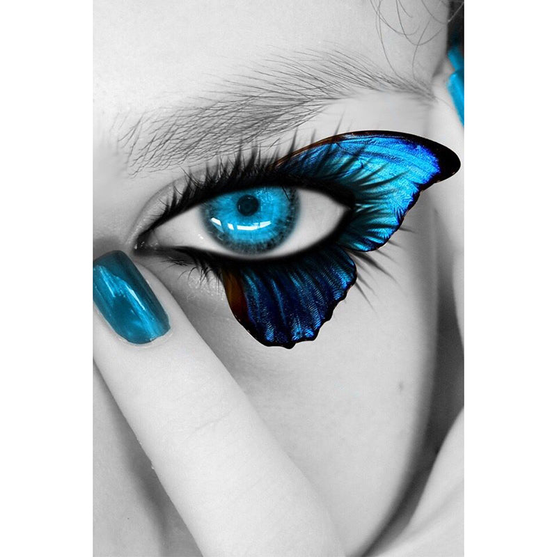 5D DIY Diamond Painting Turquoise Aqua Butterfly Eye with Fingernail - craft kit
