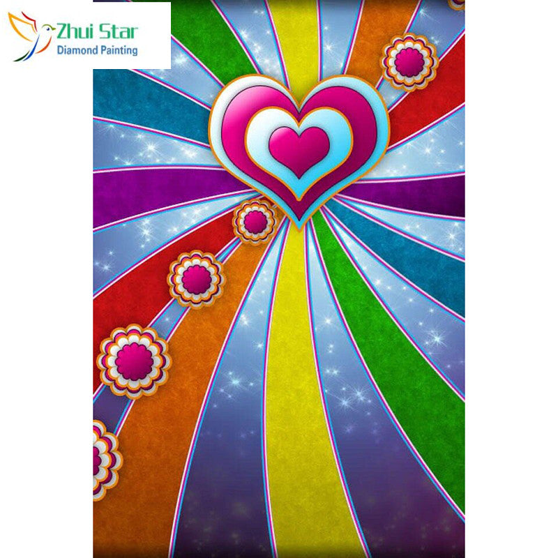 5D DIY Diamond Painting Pink Heart and Rainbow Stripes - craft kit