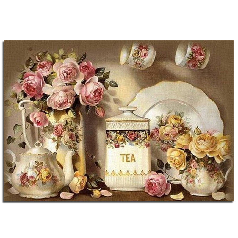 3D DIY Diamond Painting Delicate Floral Tea Set - craft kit