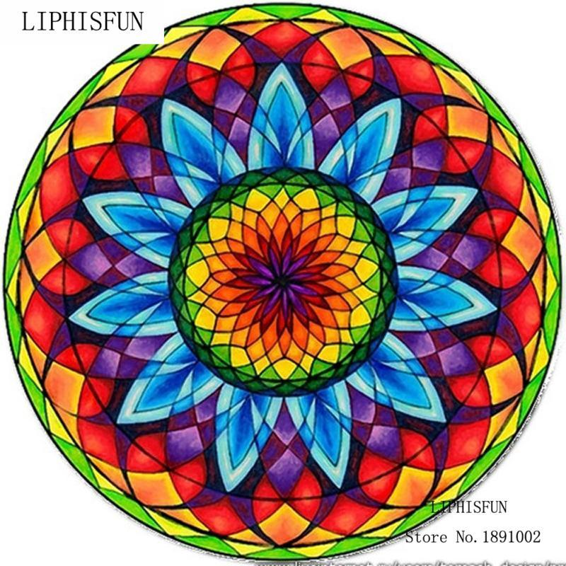 5D DIY Diamond Painting Stained Glass Flower Mandala - craft kit