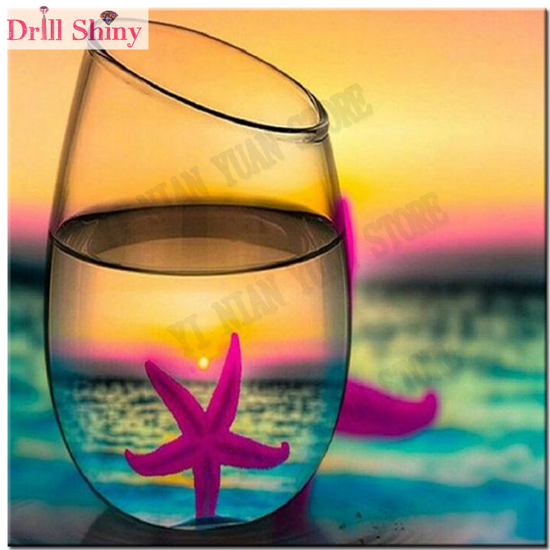 DIY Diamond Painting Hot Pink Starfish in Glass - craft kit