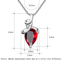 QCOOLJLY Women's Silver Tone Curly Cue Austrian Crystal Teardrop Pendant Necklace