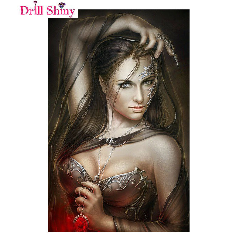 5D DIY Diamond Painting Woman with Silver Accents and Red Locket - craft kit