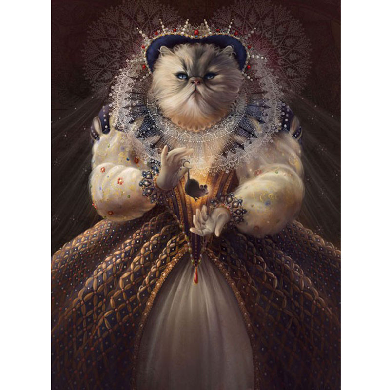 5D DIY Diamond Painting Royal Victorian Queen Cat - craft kit