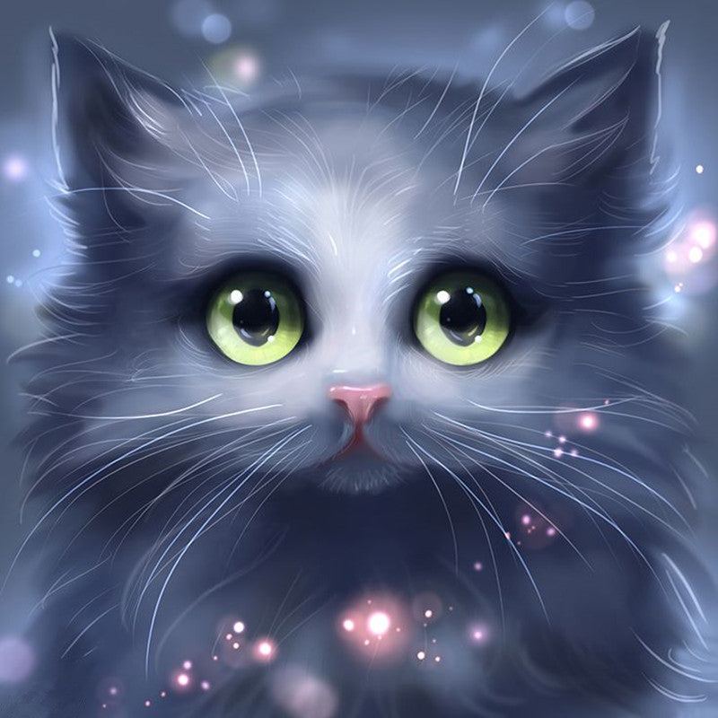 5D DIY Diamond Painting Cartoon Soft Gray Cat - craft kit