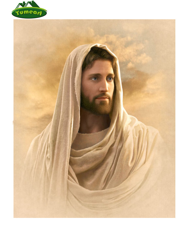 DIY Diamond Painting Jesus in Neutral  White Wrap - craft kit
