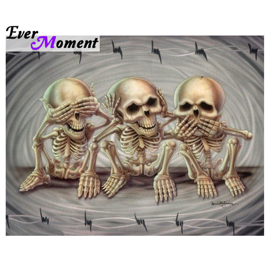 3D DIY Diamond Painting Three Wise Monkeys Skeletons - craft kit