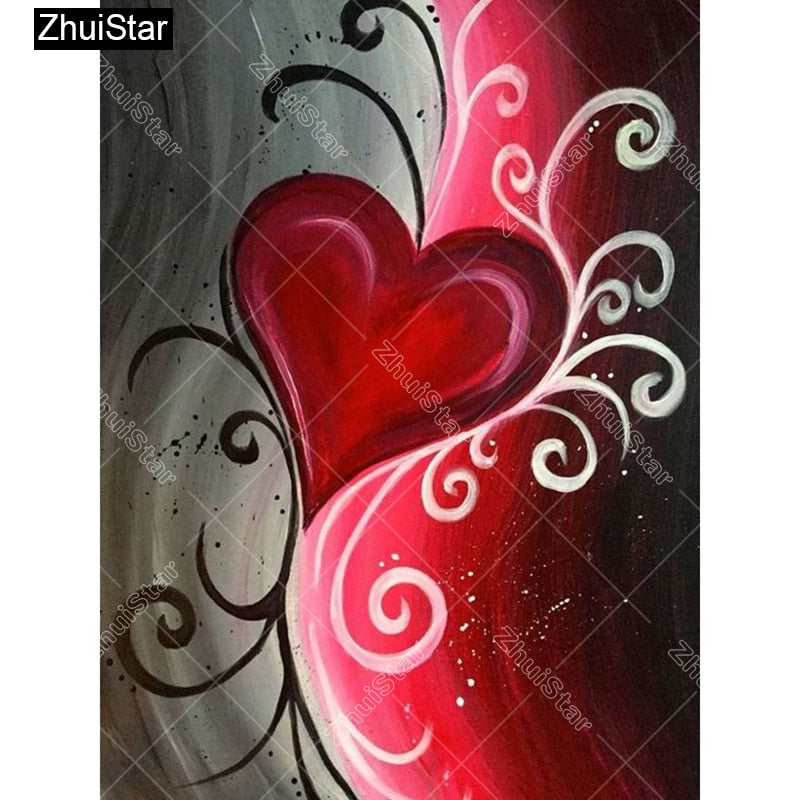 5D DIY Diamond Painting Red Heart on Gray and Red - craft kit