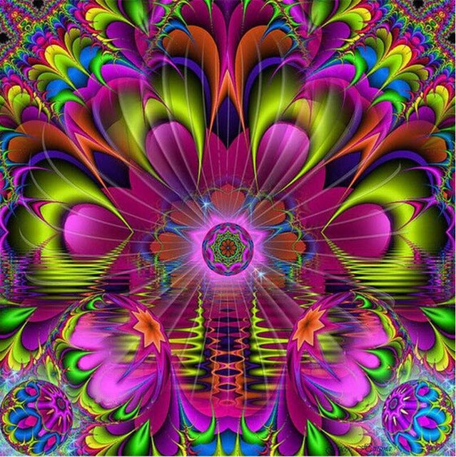 5D DIY Diamond Painting Lime Magenta Floral  Fractal Mandala - craft kit