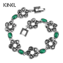 Kinel Women's Antique Silver Flower Bracelet with Green or Multi Color Resin