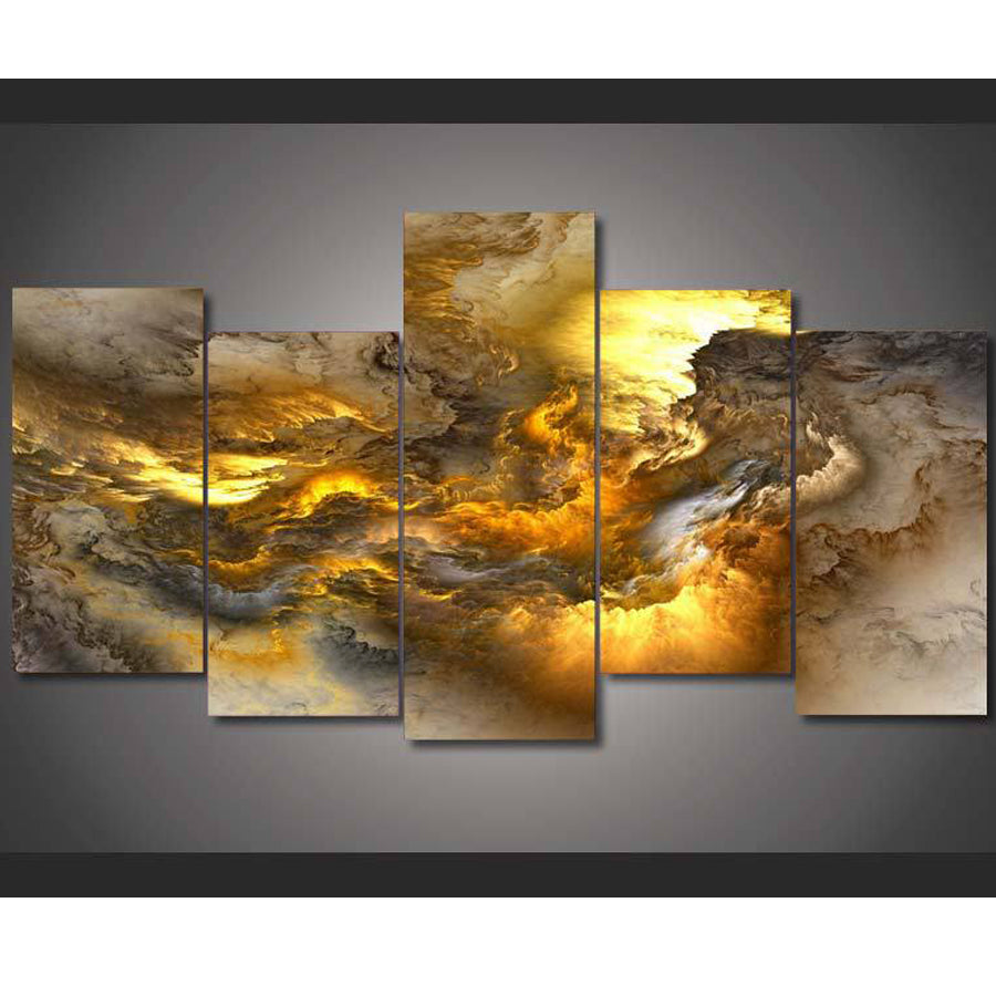 5D DIY Diamond Painting Abstract Stormy Yellow Clouds Multi Panel - craft kit