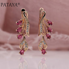Pataya Women's Rose Gold TearDrop Long Dangle Earrings with 10 CZ Color Options