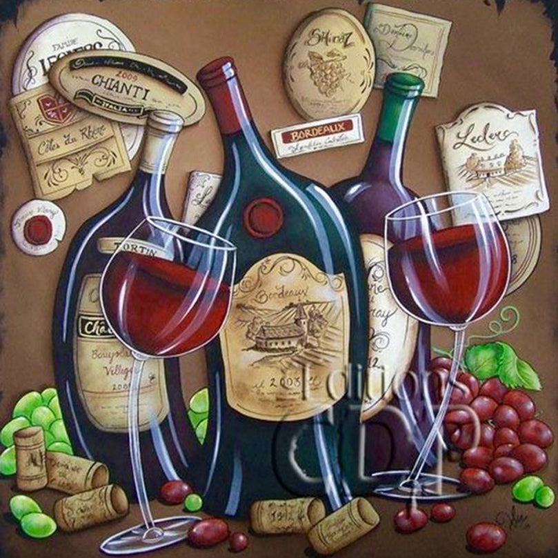 5D DIY Diamond Painting Dancing Red Wine - craft kit