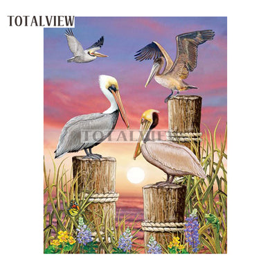 5D DIY Diamond Painting Pelicans on Posts - craft kit