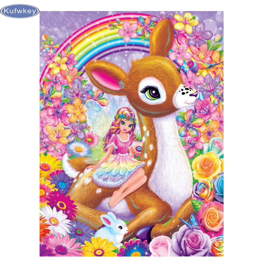 DIY Diamond Painting Cartoon Deer and Fairy in Bright Flowers - craft kit
