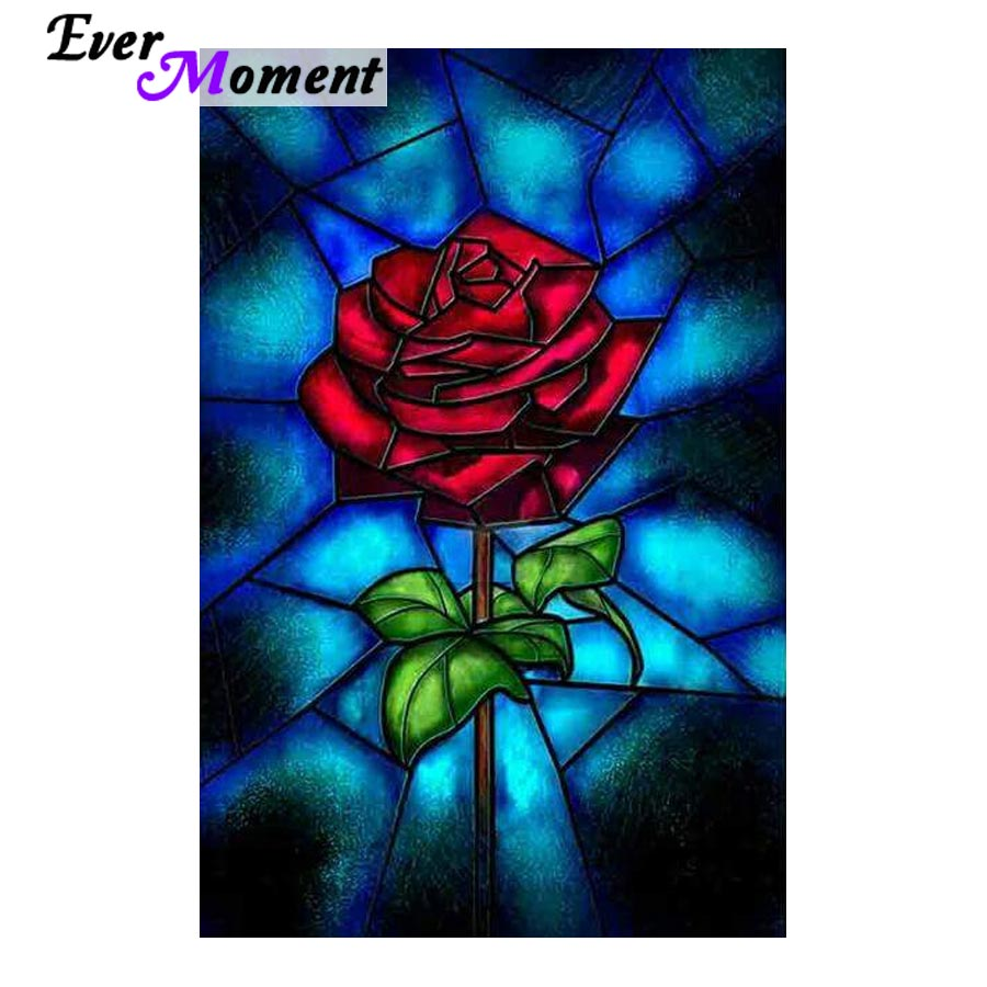 5D DIY Diamond Painting Stained Glass Red Rose - craft kit