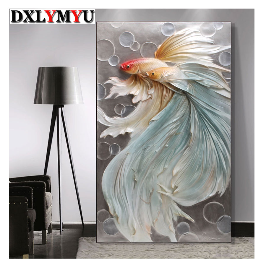 5D DIY Diamond Painting Pale Blue Betta Fish Pair - craft kit