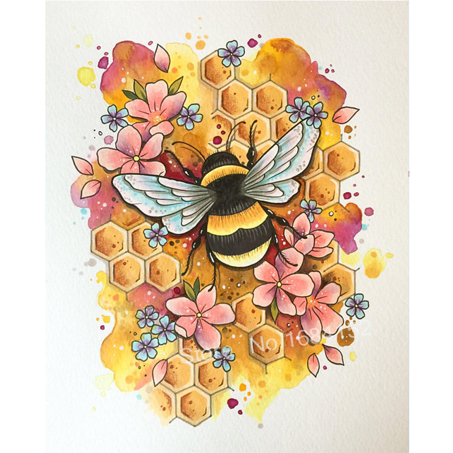 5D DIY Diamond Painting Drawing of Bumble Bee in Flowers - craft kit