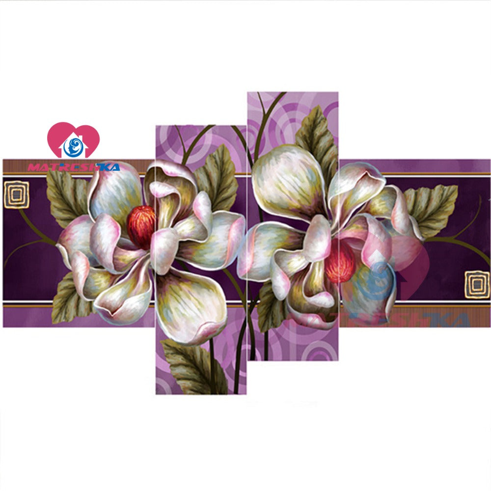 DIY Diamond Painting White Magnolia Blossoms Multi Panel - craft kit