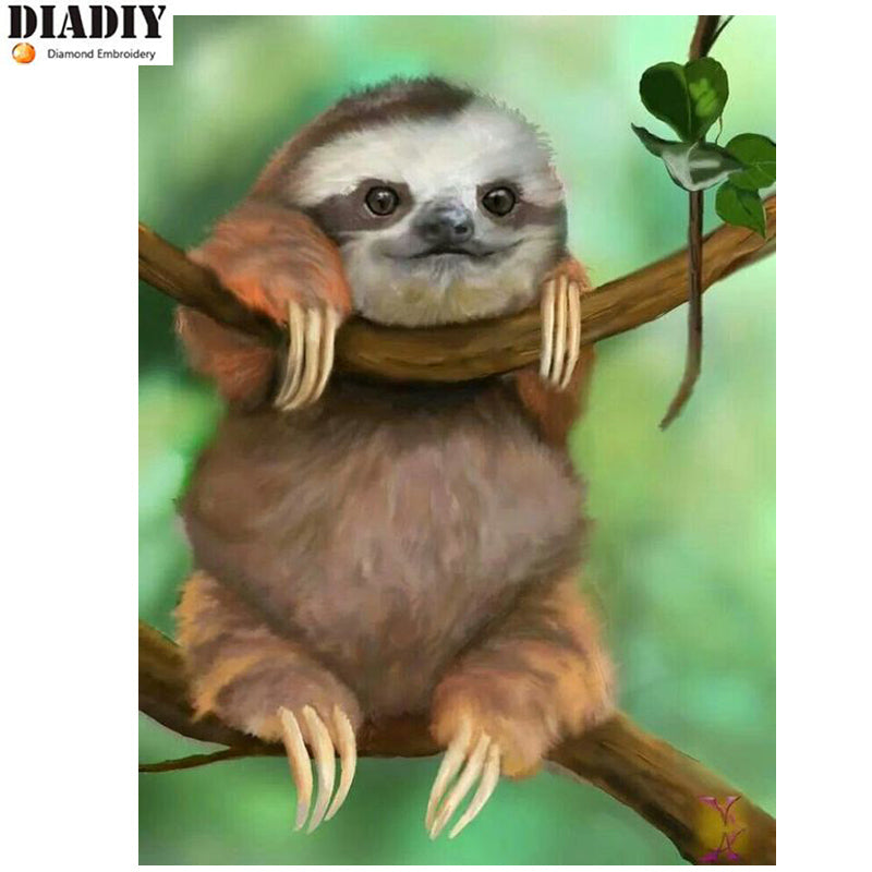 DIY Diamond Painting Sloth Drawing - Craft Kit