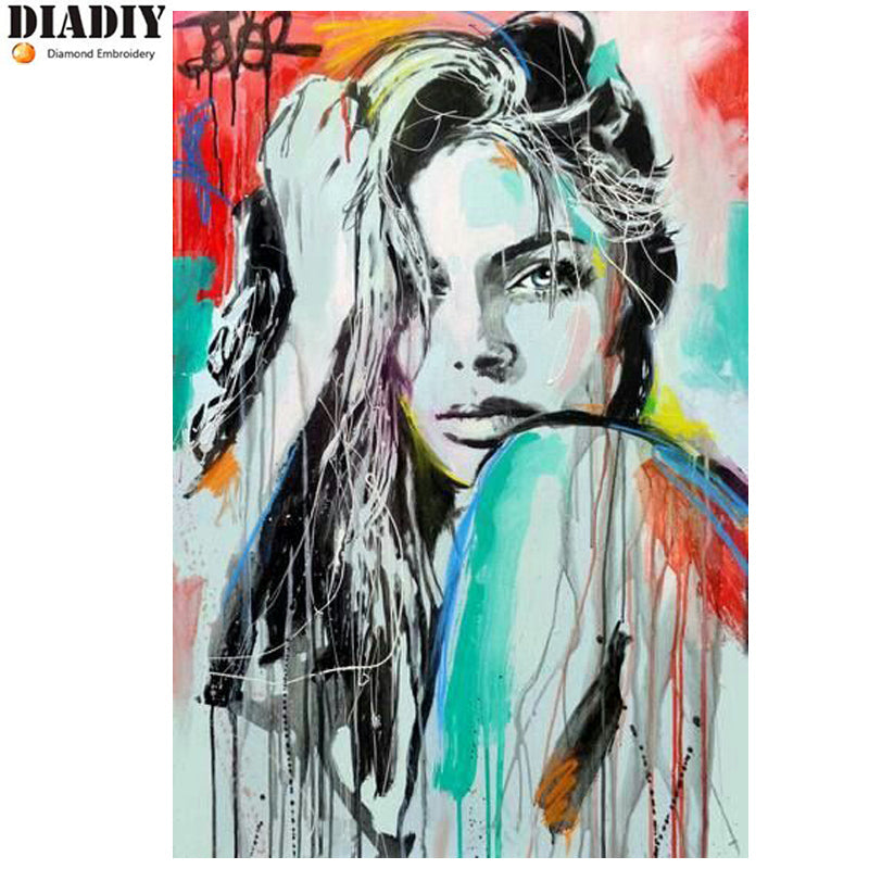 5D DIY Diamond Painting Spray Painted Street Art Woman - craft kit