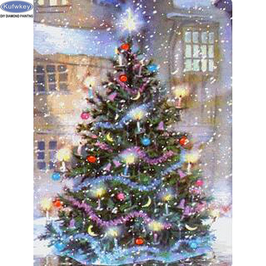 5D DIY Diamond Painting Snowing on Christmas Tree in the Street - craft kit