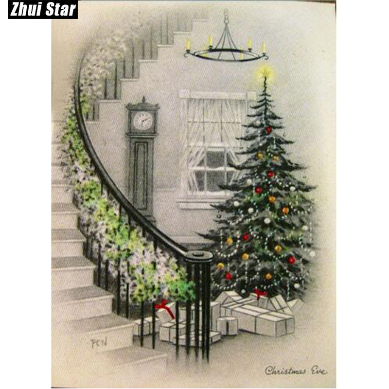 DIY Diamond Painting Christmas Tree Garland up the Stairs - craft kit