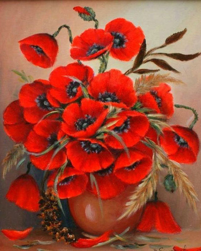 5D DIY Diamond Painting Red Poppies in Neutral Vase - craft kit