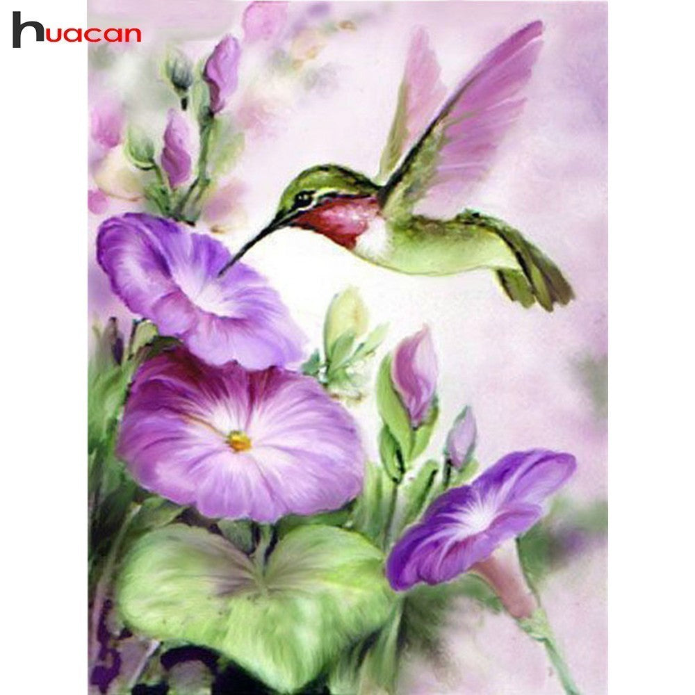 3D DIY Diamond Painting Hummingbird in Purple Morning Glories - craft kit