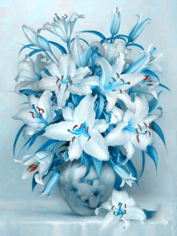 5D DIY Diamond Painting Aqua Blue and White Lilies - craft kit