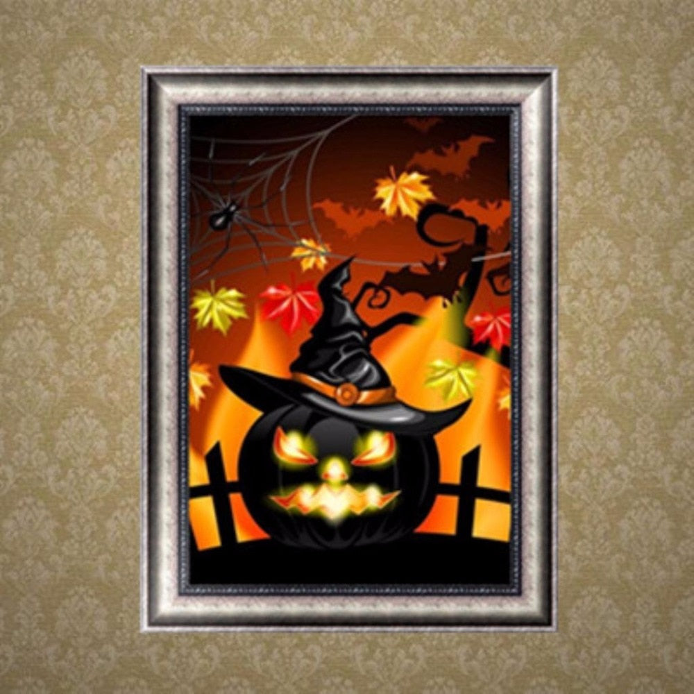 5D DIY Diamond Painting Black Jack O Lantern with Hat Partial - craft kit