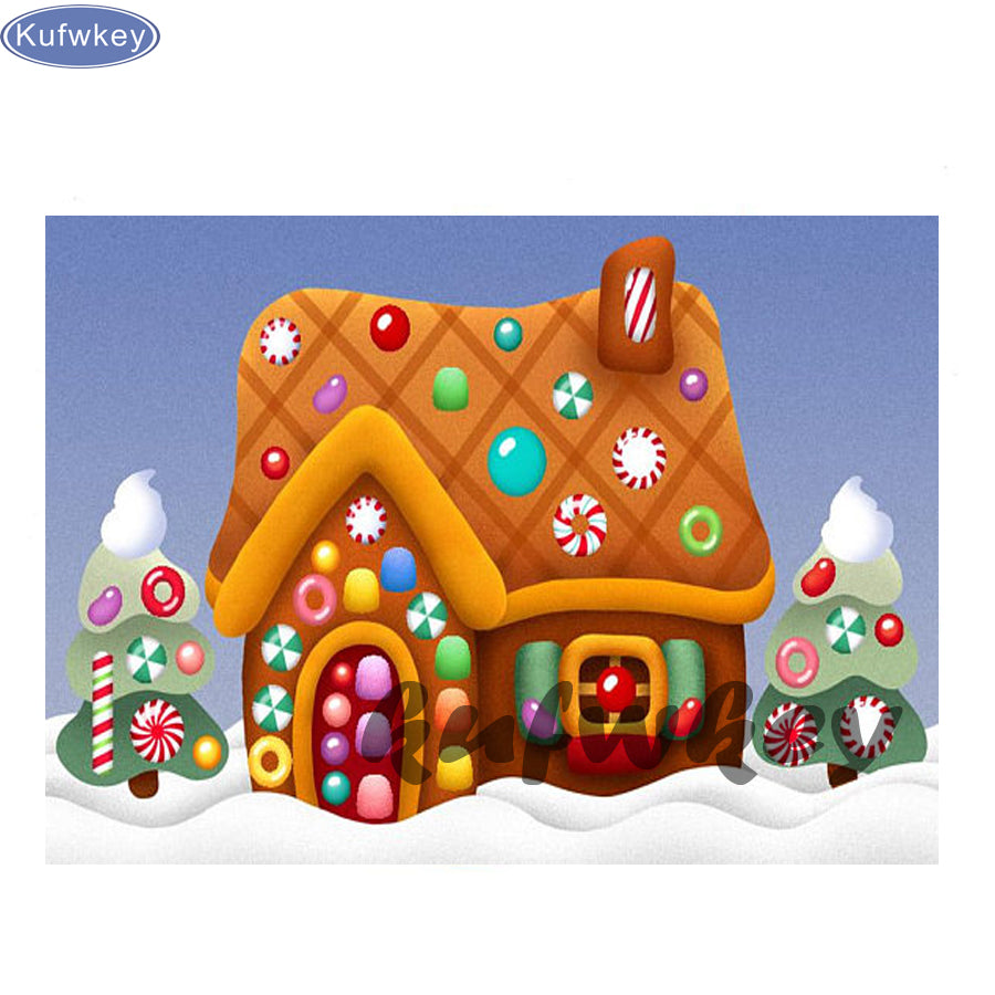 5D DIY Diamond Painting Cartoon Simple Gingerbread House - craft kit