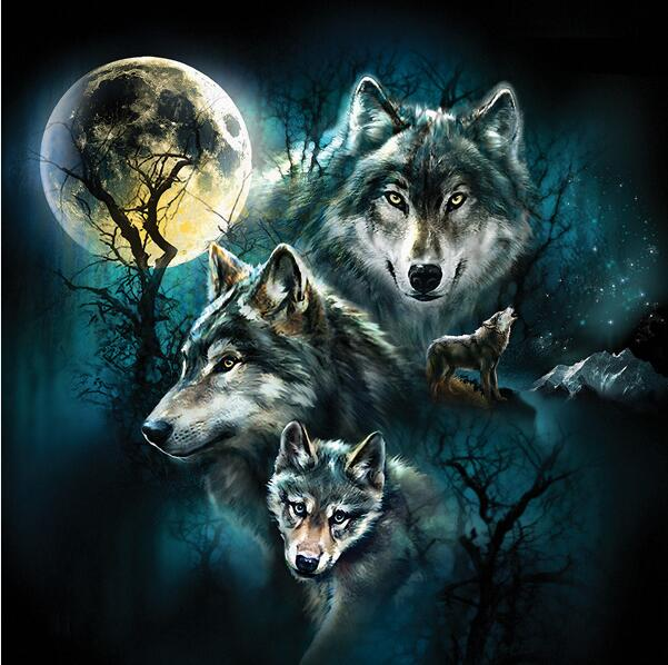 5D DIY Diamond Painting Night Moon Wolves - craft kit