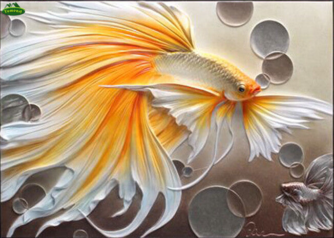 3D DIY Diamond Painting Gold and White Betta Fish - craft kit