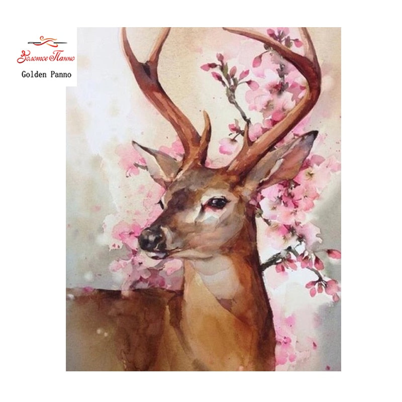 5D DIY Diamond Painting Soft Buck with Cherry Blossoms - craft kit