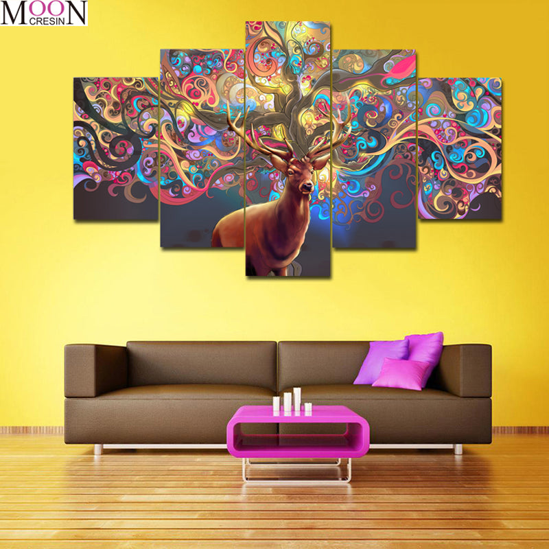 5D DIY Diamond Painting Colorful Deer Antlers Multi Panel - craft kit